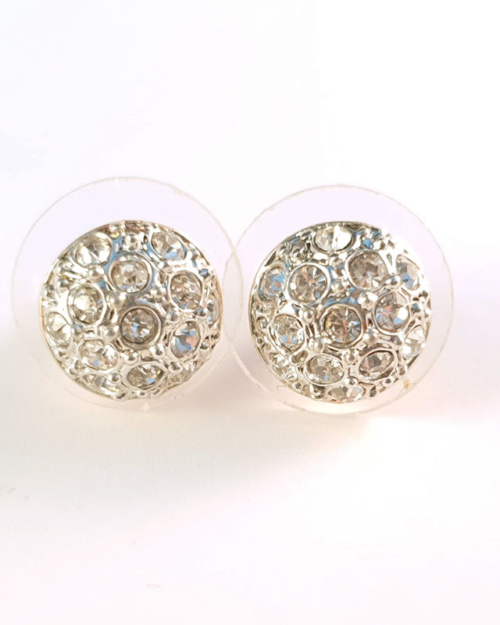 silver rose gold flatbowl earrings