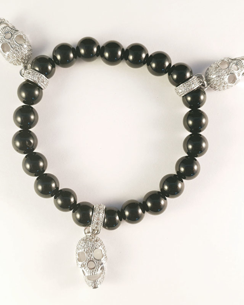 Dark Rebel - Black skull bracelet