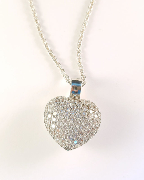heart shaped silver necklace