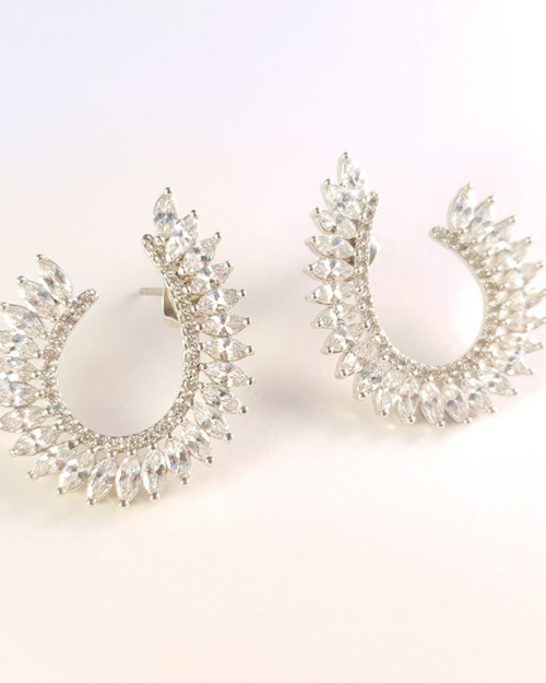 Silver diamond crossover earrings