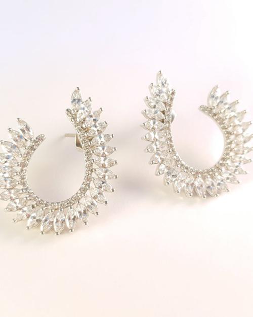 Silver diamond crossover earrings