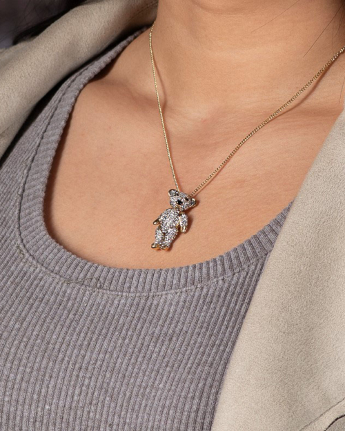 moveable teddy bear necklace